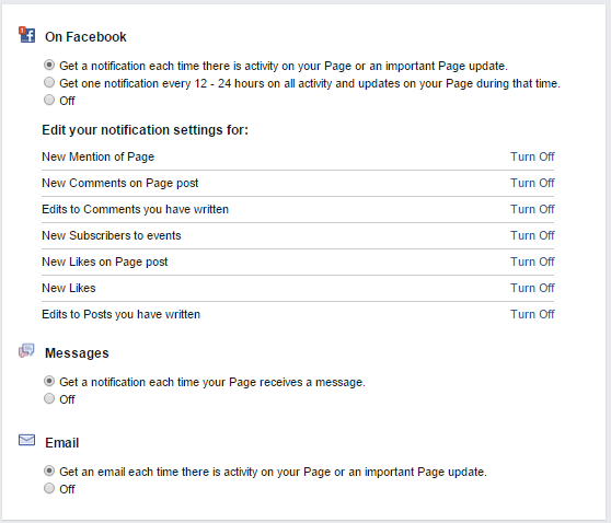 Facebook Page Notificaitons