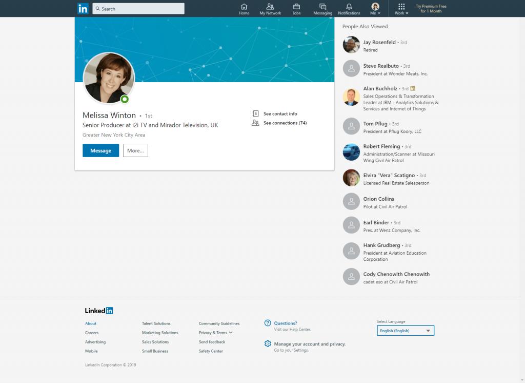 Melissa Winton LinkedIn Profile Before Makeover